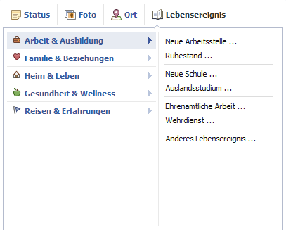 Facebook Lebenserreignis