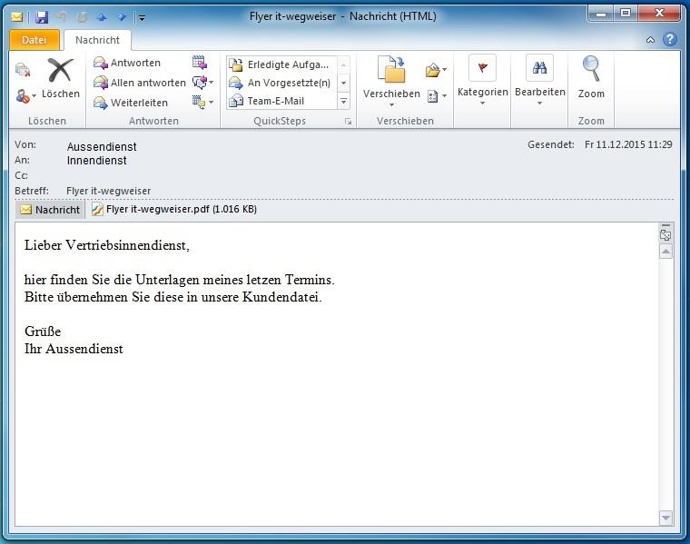 Nun kann ich meinen Vertriebsinnendienst eine einzige Datei zukommen lassen. Sie ist richtig benannt und erfordert keine weitere Bearbeitung.